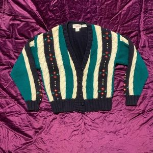 Vintage 80s Button Down Sweater Hand Knit